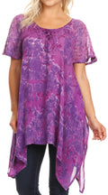 Sakkas Kiara Womens Asymmetrical Marble Dye Summer Top Blouse Short Sleeve Lace#color_Purple