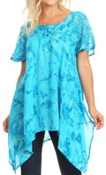 Sakkas Kiara Womens Asymmetrical Marble Dye Summer Top Blouse Short Sleeve Lace#color_Turquoise