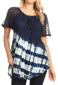 Sakkas Lulu Short Sleeve Summer Casual Fresh Blouse Top Lace Tie-dye & Corset#color_Navy