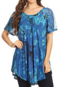 Sakkas Mayar Womens Tie-dye Short Sleeve Everyday Top Blouse with Lace & Corset#color_Blue