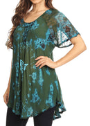 Sakkas Mayar Womens Tie-dye Short Sleeve Everyday Top Blouse with Lace & Corset
