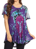 Sakkas Mayar Womens Tie-dye Short Sleeve Everyday Top Blouse with Lace & Corset#color_Purple