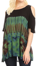 Sakkas Luz Womens Cold Shoulder Bohemian Ethnic Style Blouse Top Tie Dye Flare#color_Green