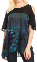 Sakkas Luz Womens Cold Shoulder Bohemian Ethnic Style Blouse Top Tie Dye Flare#color_Teal