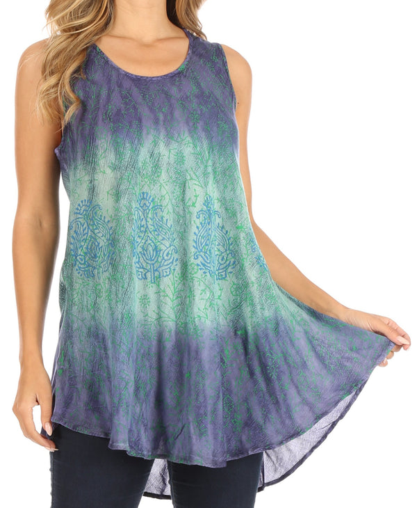 Sakkas Isabela Womens Everyday Summer Sleeveless Tank Top Tie-dye & Block Print#color_Blue-Mint