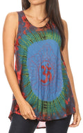 Sakkas Natalia Womens Summer Sleeveless Tie Dye Flare Tank Top Tunic Blouse#color_19460-BlueRed