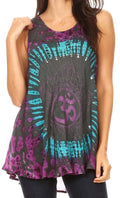 Sakkas Natalia Womens Summer Sleeveless Tie Dye Flare Tank Top Tunic Blouse#color_19460-TealPink