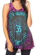 Sakkas Natalia Womens Summer Sleeveless Tie Dye Flare Tank Top Tunic Blouse#color_19460-TealTurq