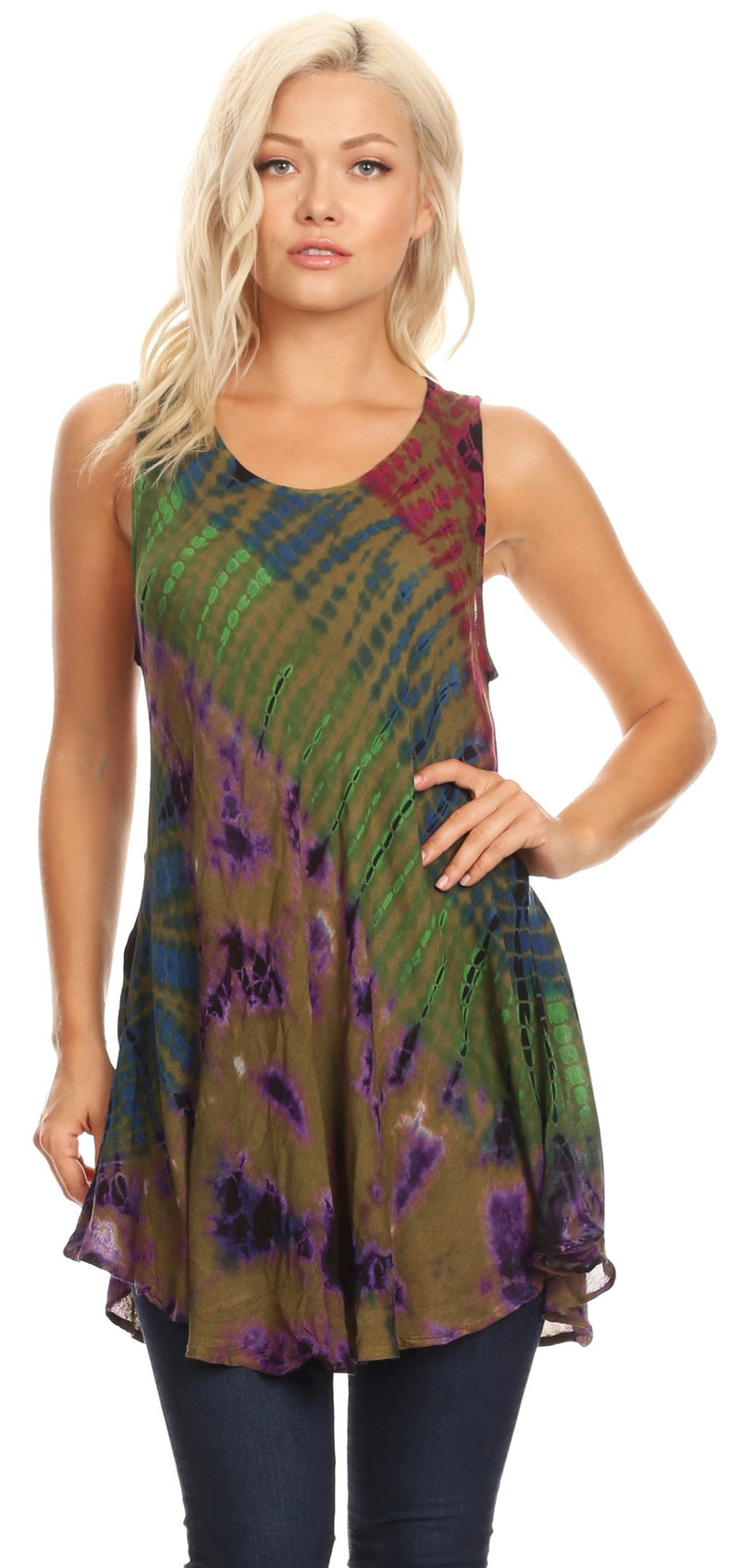 Sakkas Natalia Womens Summer Sleeveless Tie Dye Flare Tank Top Tunic Blouse