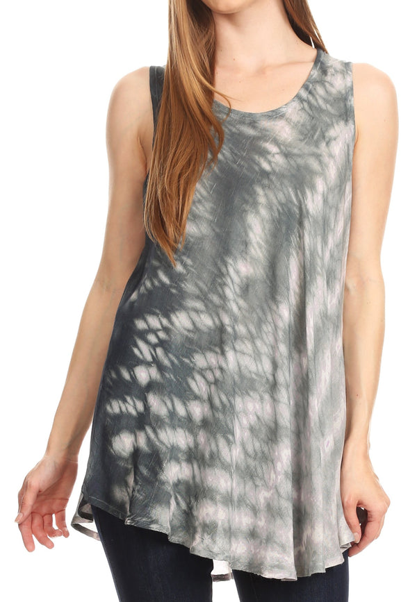 Sakkas Saba Womens Summer Casual Everyday Tie-dye Tunic Tank Top Light and Soft#color_Gray