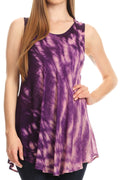 Sakkas Saba Womens Summer Casual Everyday Tie-dye Tunic Tank Top Light and Soft#color_Purple
