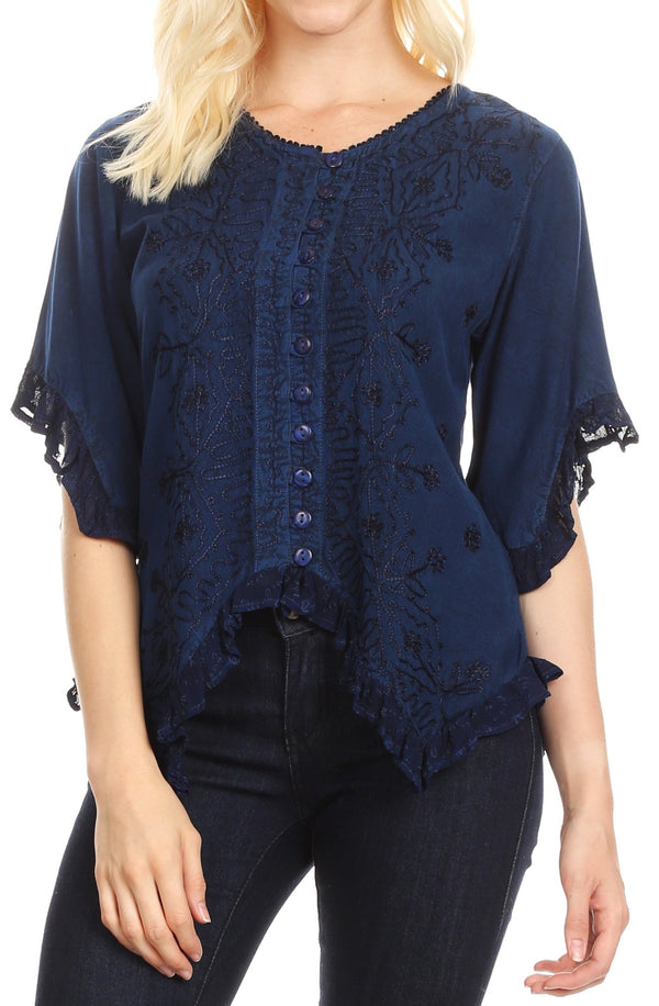 Sakkas Adela Womens 3/4 Sleeve V neck Lace and Embroidery Top Blouse with Ties#color_Blue