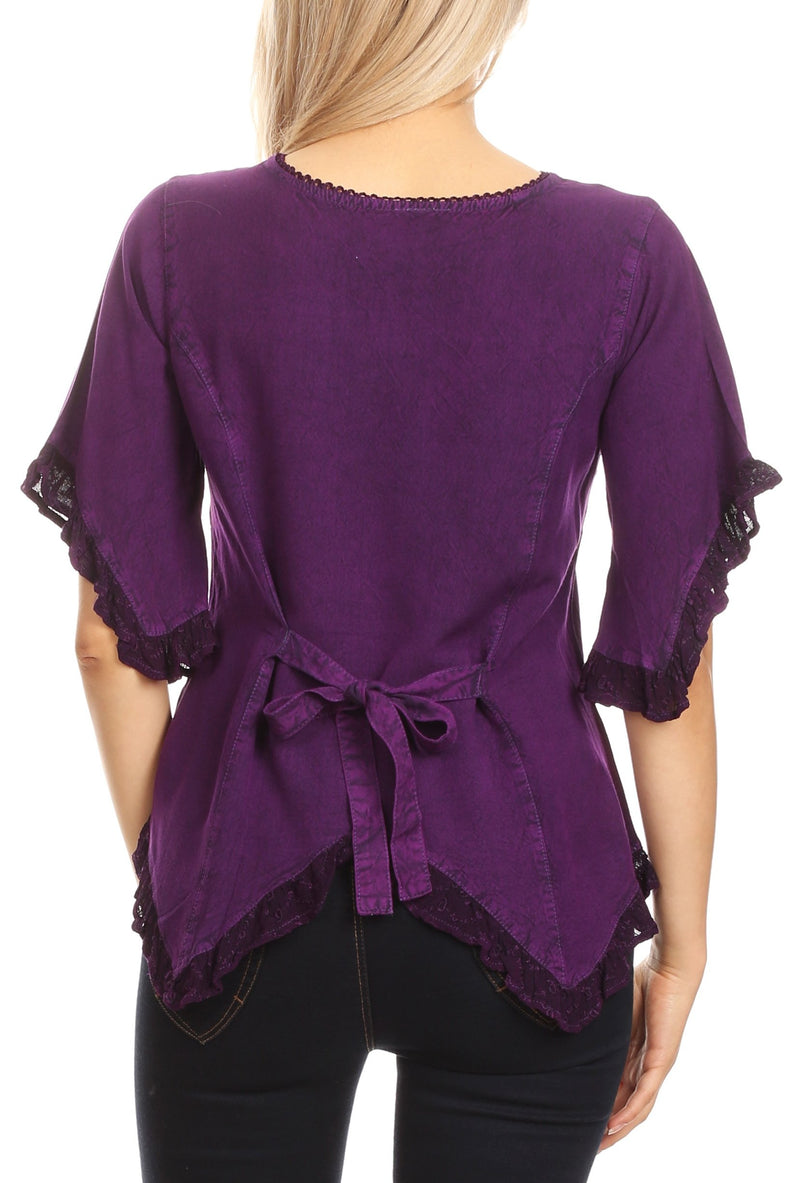 Sakkas Adela Womens 3/4 Sleeve V neck Lace and Embroidery Top Blouse with Ties