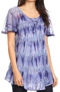 Sakkas Allegra Women's Short Sleeve Loose Fit Casual Tie Dye Blouse Tunic Shirt#color_19207-Blue