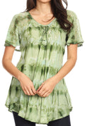 Sakkas Allegra Women's Short Sleeve Loose Fit Casual Tie Dye Blouse Tunic Shirt#color_19207-Green