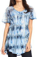 Sakkas Allegra Women's Short Sleeve Loose Fit Casual Tie Dye Blouse Tunic Shirt#color_19207-SkyBlue