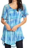 Sakkas Allegra Women's Short Sleeve Loose Fit Casual Tie Dye Blouse Tunic Shirt#color_19207-Turquoise