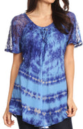 Sakkas Allegra Women's Short Sleeve Loose Fit Casual Tie Dye Blouse Tunic Shirt#color_19212-Blue