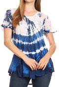 Sakkas Allegra Women's Short Sleeve Loose Fit Casual Tie Dye Blouse Tunic Shirt#color_Blue