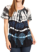 Sakkas Allegra Women's Short Sleeve Loose Fit Casual Tie Dye Blouse Tunic Shirt#color_Navy