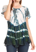 Sakkas Allegra Women's Short Sleeve Loose Fit Casual Tie Dye Blouse Tunic Shirt#color_Teal
