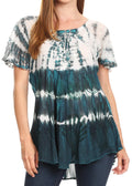 Sakkas Allegra Women's Short Sleeve Loose Fit Casual Tie Dye Blouse Tunic Shirt#color_TealBlue