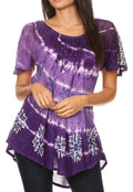 Sakkas Aline Women's Short Sleeve Casual Light Loose Scoop Neck Top Blouse Shirt #color_19210-DarkPurple
