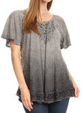 Sakkas Donna Women's Casual Lace Short Sleeve Tie Dye Corset Loose Top Blouse#color_19200-Gray