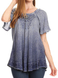 Sakkas Donna Women's Casual Lace Short Sleeve Tie Dye Corset Loose Top Blouse#color_19200-Navy