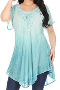 Sakkas Donna Women's Casual Lace Short Sleeve Tie Dye Corset Loose Top Blouse#color_19200-SeaGreen
