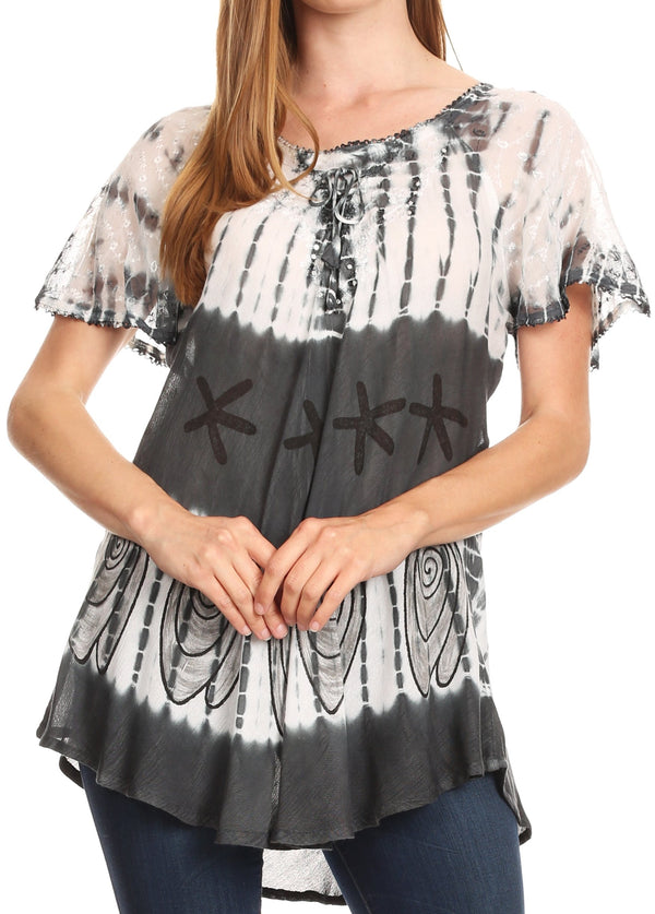 Sakkas Donna Women's Casual Lace Short Sleeve Tie Dye Corset Loose Top Blouse#color_19202-Gray