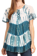 Sakkas Donna Women's Casual Lace Short Sleeve Tie Dye Corset Loose Top Blouse#color_19202-Teal
