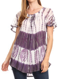 Sakkas Donna Women's Casual Lace Short Sleeve Tie Dye Corset Loose Top Blouse#color_19202-Violet