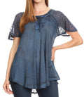 Sakkas Donna Women's Casual Lace Short Sleeve Tie Dye Corset Loose Top Blouse#color_19203-Blue