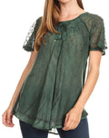 Sakkas Donna Women's Casual Lace Short Sleeve Tie Dye Corset Loose Top Blouse#color_19203-Green
