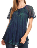 Sakkas Donna Women's Casual Lace Short Sleeve Tie Dye Corset Loose Top Blouse#color_19203-Navy