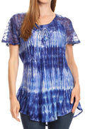 Sakkas Donna Women's Casual Lace Short Sleeve Tie Dye Corset Loose Top Blouse#color_19214-RoyalBlue