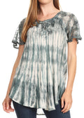 Sakkas Donna Women's Casual Lace Short Sleeve Tie Dye Corset Loose Top Blouse#color_19214-Gray