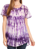 Sakkas Donna Women's Casual Lace Short Sleeve Tie Dye Corset Loose Top Blouse#color_19214-Purple