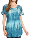 Sakkas Donna Women's Casual Lace Short Sleeve Tie Dye Corset Loose Top Blouse#color_19214-Teal