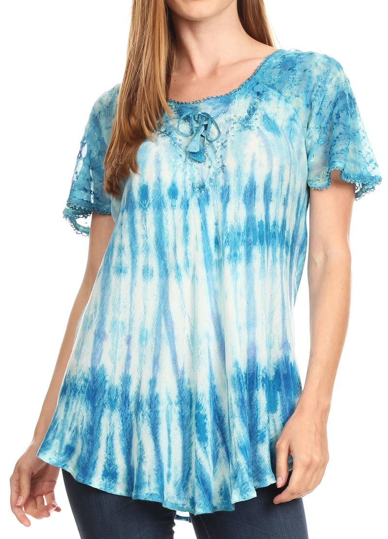Sakkas Donna Women's Casual Lace Short Sleeve Tie Dye Corset Loose Top Blouse