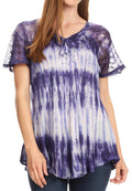 Sakkas Donna Women's Casual Lace Short Sleeve Tie Dye Corset Loose Top Blouse#color_19214-Violet