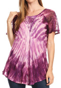 Sakkas Donna Women's Casual Lace Short Sleeve Tie Dye Corset Loose Top Blouse#color_Plum