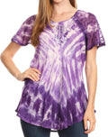 Sakkas Donna Women's Casual Lace Short Sleeve Tie Dye Corset Loose Top Blouse#color_Purple
