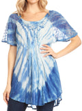 Sakkas Donna Women's Casual Lace Short Sleeve Tie Dye Corset Loose Top Blouse#color_SkyBlue