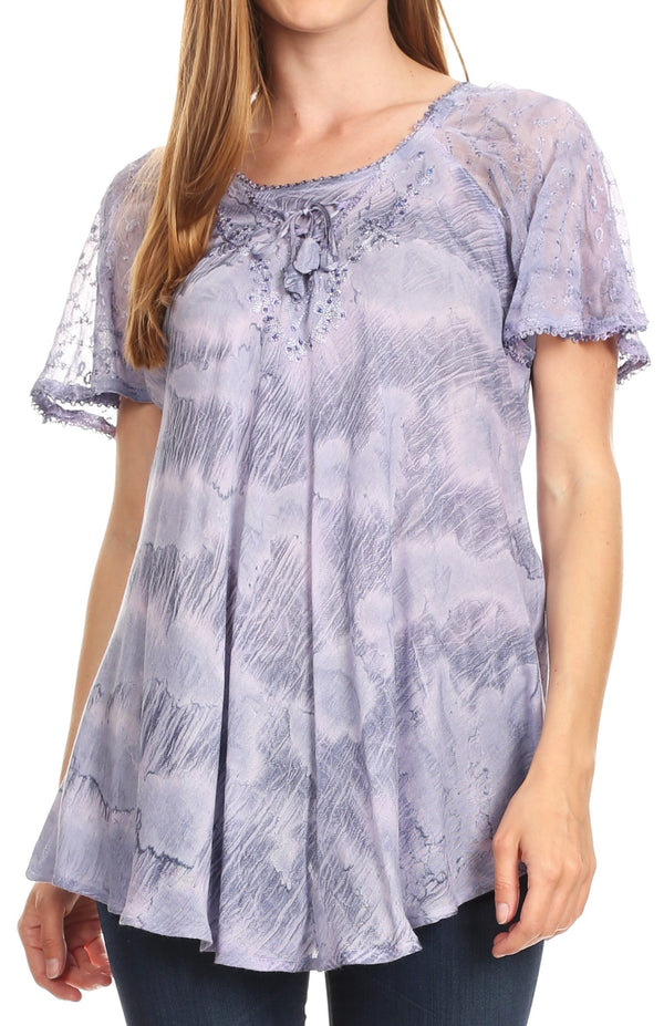 Sakkas Marzia Women's Loose Fit Short Sleeve Casual Tie Dye Batik Blouse Top Tunic#color_19204-DustyPurple