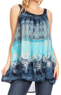 Sakkas Lidia Women's Casual Loose Batik Tie Dye Sleeveless Tank Top Blouse Tunic#color_19231-Navy
