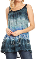 Sakkas Lidia Women's Casual Loose Batik Tie Dye Sleeveless Tank Top Blouse Tunic#color_19231-Blue