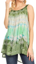 Sakkas Lidia Women's Casual Loose Batik Tie Dye Sleeveless Tank Top Blouse Tunic#color_19231-Green