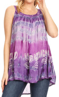 Sakkas Lidia Women's Casual Loose Batik Tie Dye Sleeveless Tank Top Blouse Tunic#color_19231-Purple